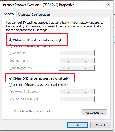 Ethernet does not have a valid IP configuration